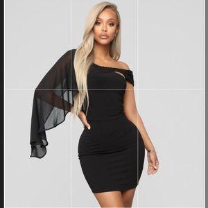 One shoulder black statement dress